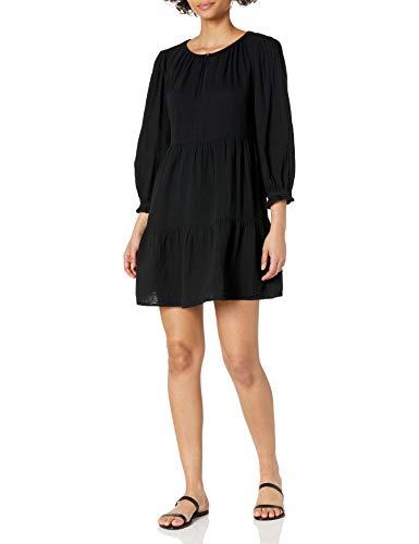 Velvet by Graham & Spencer Women's Mirella Cotton Gauze Tiered Dress, Black, Large