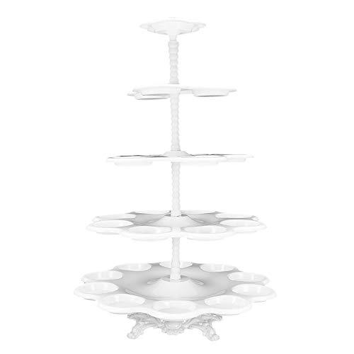 Soporte de plástico para cupcakes de 5 niveles, color blanco