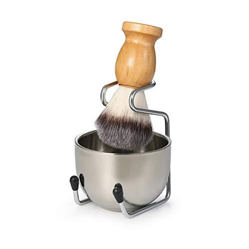 Rasierpinsel Set Edelstahl Rasiermesser und Pinselständer Seifenschale und Rasierpinsel Geschenk Rasiersets für Männer