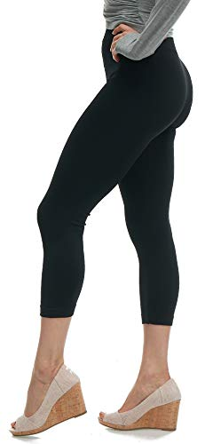 LMB Lush Moda Leggings for Women Capri Seamless Footless Tights, Underlayer, Cold Weather in Many Colors, Black fits XS to XL