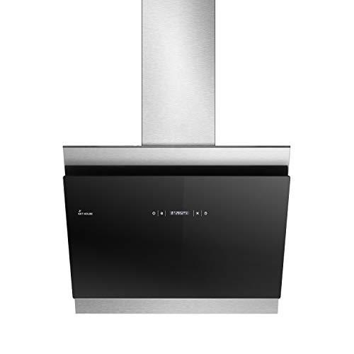 KKT KOLBE Kopffreie Dunstabzugshaube/Wandhaube / 60cm / Edelstahl/Schwarzes Glas/Extra-leise / 605m³/h/RGBW-LED-Beleuchtung/WIFI / 4 Stufen/Touchsteuerung/Nachlauf-automatik / BICOLORE607SM