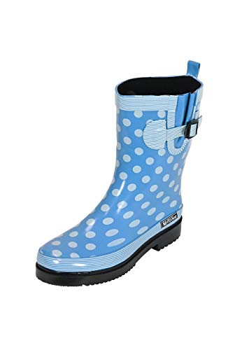 MADSea Damen Gummistiefel Ocean hellblau Punkte Halbschaft Regenstiefel, Größe:38 EU