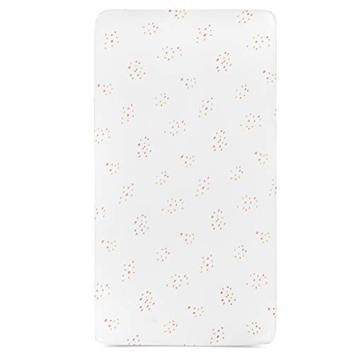 Ely's & Co. Crib Sheet 1-Pack Combed Jersey Cotton for Baby Girl — (Pink Raindrops)