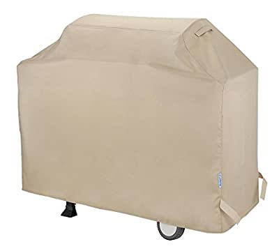 """SunPatio Barbecue Grill Cover 60 Inch, Waterproof Heavy Duty BBQ Cover, Fits Grills of Weber Char-Broil Nexgrill Brinkmann and More, 60"""" x 23"""" x 42"""", Beige"""