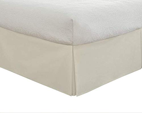 Valencia Beddings Split Corner Bed Skirt 18 Inch Drop Full Size 100% Natural Cotton Wrinkle and Fade Resistant Full Size, Ivory Solid
