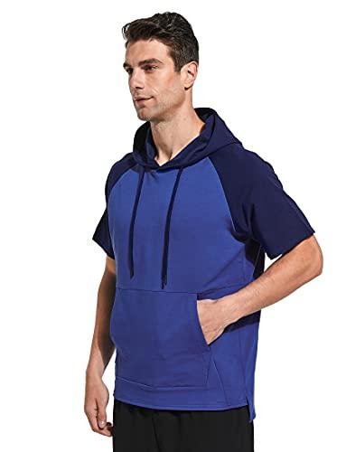 Westkun Sudaderas con Capucha para Hombre Deportiva Camiseta de Manga Corta Deporte Sudadera Casual Corriendo Pull-Over Tops(Azul,XXL)
