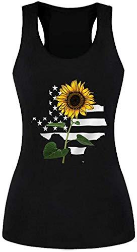 NOBRAND - Camiseta sin mangas para mujer, diseño de girasol, con bandera de estrella, para entrenamiento, sin mangas, con bandera Gris Negro ( L