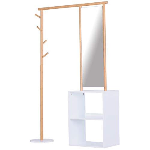 homcom Appendiabiti con Guardaroba e Specchio Figura Intera, in bambù e MDF, per Ingresso/Casa/Ufficio 100 x 34 x 164cm