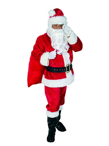 Rubie's Plush Santa Claus Suit and Accessories, Red, Standard