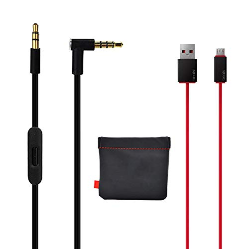 Original Replacement AUX Audio Cable Cord for Beats by Dre Headphones Solo/Studio/Pro/Wireless/Mixr with MIC Black(Discontinued by Manufacturer)+Replacement Charger Cable for Beats by Dr Dre and Pill