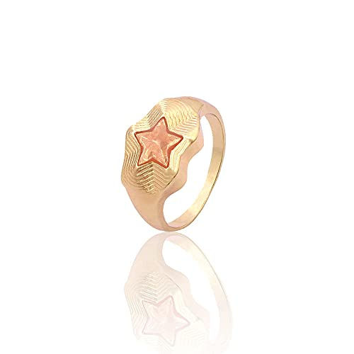 DGSDFGAH Ring For Women Champagne Cute Metal Ring For Men And Women Star Ring Party Jewelry Gift Jewelry