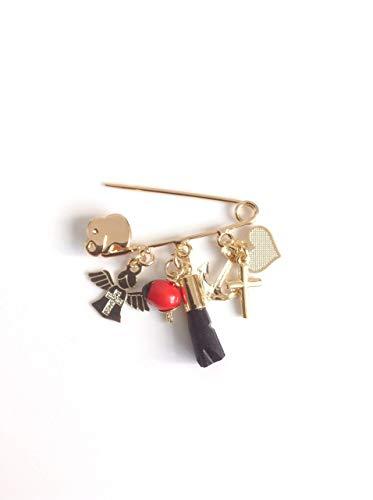 Genuine Azabache Crib Pin Jogger Brooch Peonia Angel Cross Pendants...