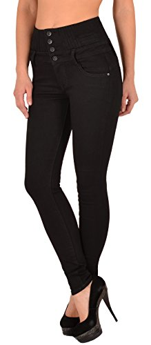 ESRA Damen Jeans Hose Skinny Jeanshose Damen High Waist Hochbund bis Übergröße J22
