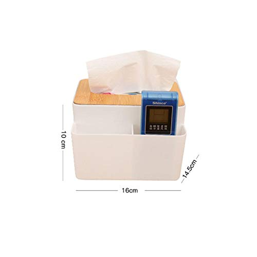 Plastic White Tissue Box with Bamboo Wooden Cover Phone Slot Home Kitchen Car Napkins Container Orga