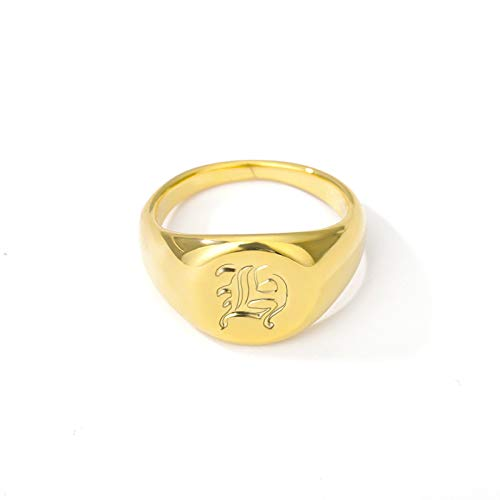 DGSDFGAH Anillo Mujer,Mujer Inicial Letter Ring Gold H Old English Letter Signature Ring Minimalist Punk Ladies Jewelry Valentine's Day Gift,10