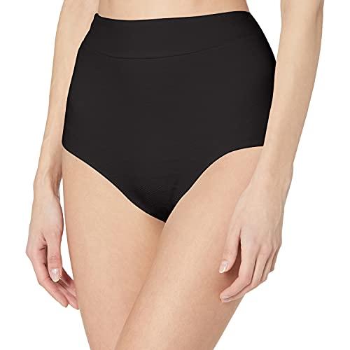 Seafolly Women's High Waisted Bikini Bottom Swimsuit with Full Coverage, Seaside Soiree Black, 4