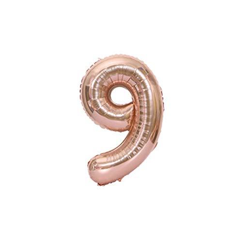 Ballons à hélium en film d'aluminium de 102 cm, en forme de chiffres de 0 à 9, pour fêtes d'anniversaire #9 rose gold