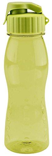 Culinario Trinkflasche flip'S aus Kunststoff, 500 ml, in grün, mit Silikon-Dichtungsring, Schraubverschluss, Hängeöse, Griffmulden, geschmacksneutral