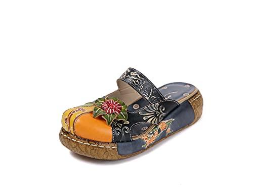 IRON JF Sandalias para Mujer Sandalias de Cuero Slip-on Soft Womens Ladies Mule Blogs Zapatillas Baotou Baotou Vintage Plateforme Fleurs Cómodo Jardín Zapatos Zapatos (Color : A Blue, Size : 35)