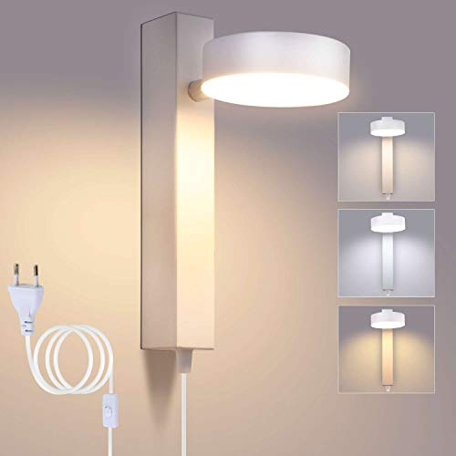 Lightsjoy Apliques de Pared LED Regulable y Ajuste Universal Lámpara de Pared Interior 12W Luz de Aluminio Moderna con Interruptor para Sala de Estar, Dormitorio, Baño, Cocina, Escalera, Blanco