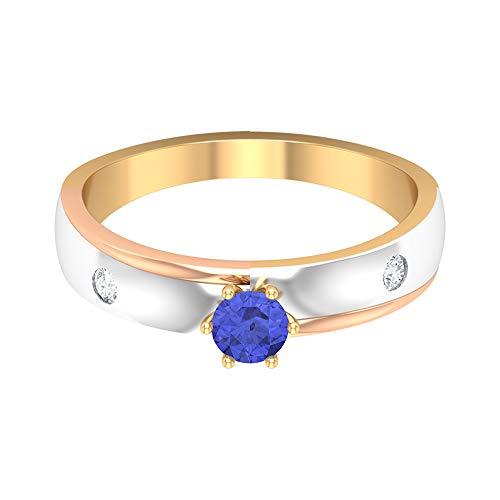 Anillo solitario de tanzanita de 1/4 quilates con acento de diamante, anillo de 3 tonos, anillo de compromiso de oro (calidad AAA), 14K Oro amarillo, Size:EU 48
