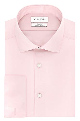 Calvin Klein Men's Dress Shirt Slim Fit Non Iron Solid French Cuff, Pink, 15.5' Neck 34'-35' Sleeve (Medium)