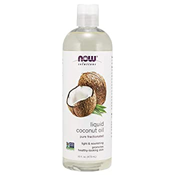 NOW Solutions Liquid Coconut Oil Light and Nourishing Promotes Healthy-Looking Skin and Hair 16 Fl Oz  Pack of 1