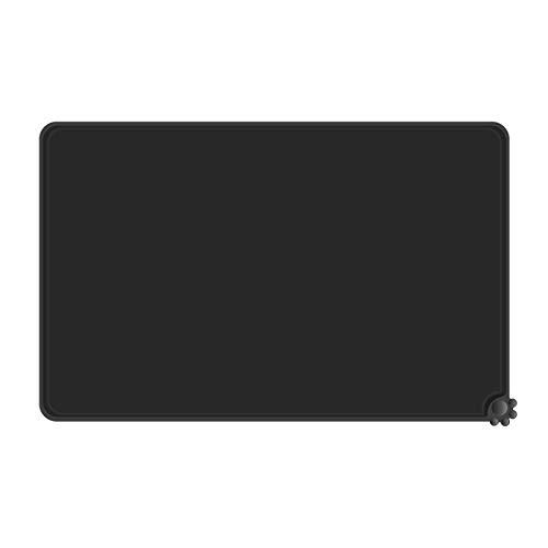 Reopet Alfombrilla de silicona antiadherente para perros y gatos, resistente al agua (50,8 x 38,1 cm), color negro