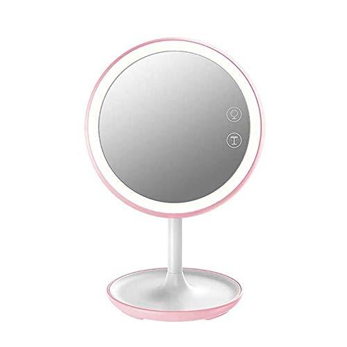 SMX Espejo de maquillaje pantalla táctil Espejo de baño con LED Brillo ajustable USB portátil recargable Relleno inteligente de escritorio de la lámpara de escritorio ligera de maquillaje de belleza E