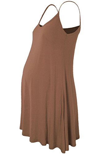 Janisramone Damen Kleid, Einfarbig schwarz * Einheitsgröße Gr. 42-44, Mokka