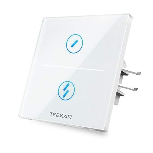 TEEKAR Interrupteur Mural Intelligent, Interrupteur Connecté WiFi Sans Fils Compatible avec Alexa et Google Home, Interrupteur Tactile Avec Commande Vocale et Éteindre la LED(Faut Fil de Neutre) 2Gang