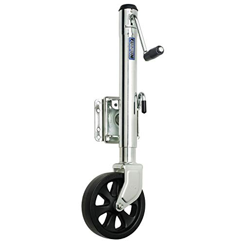 """Fulton XP15 0101 Steel Swing-Away Bolt-On Jack with 10"""" Travel and 8"""" Poly Wheel - 1500 lb. Weight Capacity"""