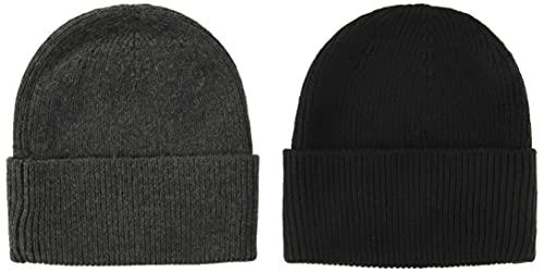 Amazon Essentials Men's 2-Pack Knit Beanie Hat, Gray Heather/Black, One Size