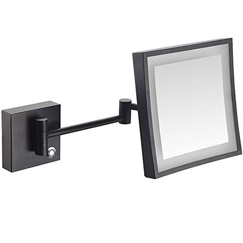 LED Miroirs de Maquillage, Miroir Mural Carré, Miroir cosmétique 3 Fois grossissement, Extension Pliant Miroir Salle De Bain - Bouton Tactile - EU Plug