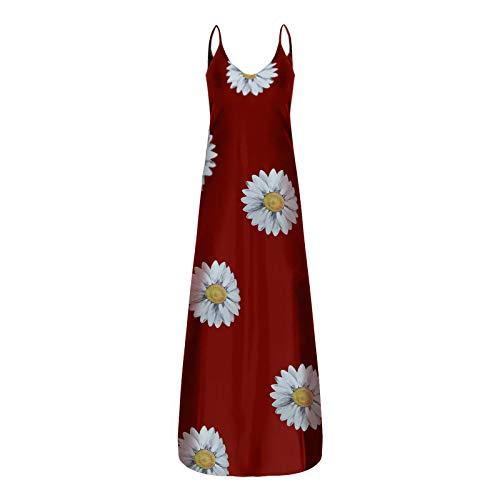 Plus Size Dress for Women Daisy Print Sundress Deep V Cami Sleeveless Dress Casual Long Maxi Skirt with Pocket (Y-Wine,XL)