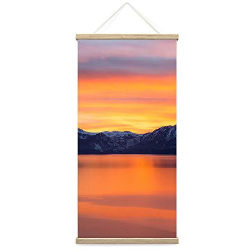 "Bestdeal Depot Hanging Poster Mountain Sunset XVII Coastal Orange Photography Relax/Calm Romantics Sunset Warm Canvas Prints Wall Art for Living Room, Bedroom - 18""x36"""