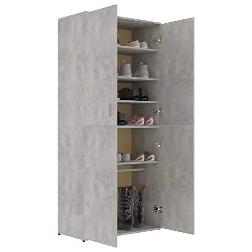 GOTOTOP Zapatero de 80 x 39 x 178 cm con 2 puertas, 6 estantes y una barra suspendida, de aglomerado, para entrada de dormitorio, color gris cemento