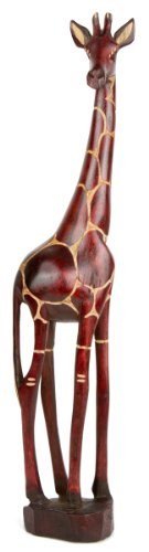 AFRIKA-DEKO Holzgiraffe Tonga in Verschiedene Größen Handarbeit aus SIMBABWE hochwertige Holz Giraffe Firgur Holzfigur, 20cm