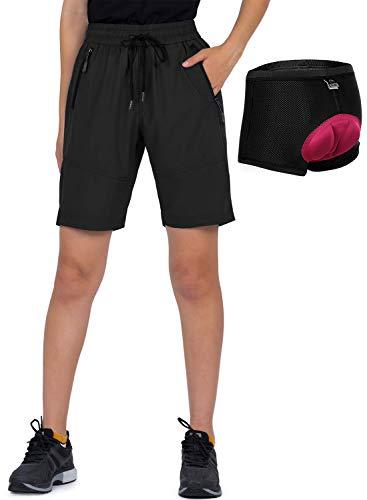 Cycorld MTB Hose Damen Fahrradhose, MTB Shorts Damen Mountainbike Hose, Atmungsaktiv, Schnelltrocknende (M, Schwarz Mit Unterwäsche)