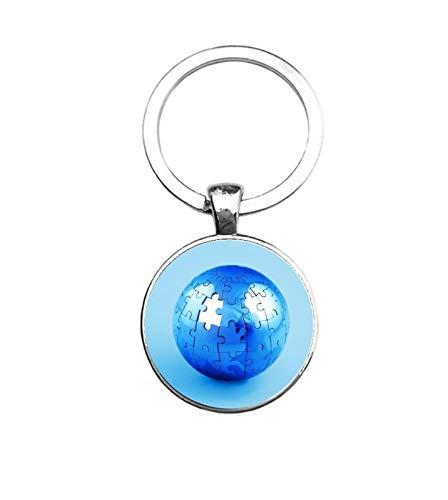 Sleutelhanger Glas - Wereldbol Puzzel