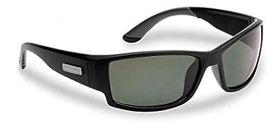 Flying Fisherman Razor Polarized Sunglasses with AcuTint UV Blocker for Fishing and Outdoor Sports, Matte Black Frames/Smoke Lenses
