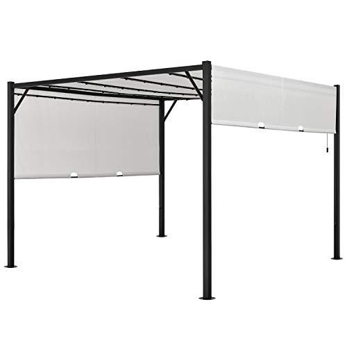 ArtLife Pavillon Cavo 3 × 3 m Creme – Pergola mit LED Beleuchtung & Flachdach – Sonnenschutz Garten Terrasse – Terrassenüberdachung Stahl-Gestell