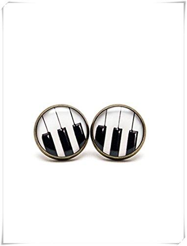 Elf House Piano Stud Oorbellen, Piano sleutelsieraden, zwarte en witte Piano Stud oorbellen, berichten muziek