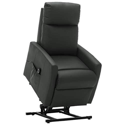 vidaXL Fernsehsessel Elektrisch Aufstehsessel mit Aufstehhilfe Relaxsessel TV Sessel Ruhesessel Liegesessel Polstersessel Grau Kunstleder