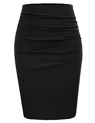 GRACE KARIN Women Elegant Ruched Work Business Party Pencil Skirt Size M,Black