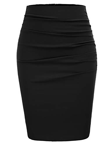 high Waist Rock für Damen Knielang Business Rock schwarz Bleistiftrock CL866-1 L