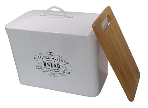Metal bread box Breadbox basket (White)