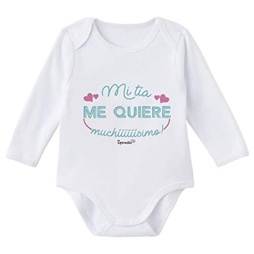 SUPERMOLON Body bebé manga larga Mi tía me quiere muchísimo Blanco algodón para bebé 0-3 meses
