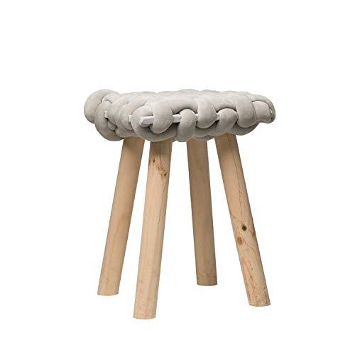 Bloomingville Hocker, 47 cm hoch, Holz, grob, gewebt, Grau
