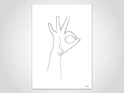 Skizze Hände 5 — Poster, Hand, Mensch, Portrait, Bilder, Kunstdrucke, Papier, Zeichnung, OK, Illustration, Minimalistisch, skandinavisch
